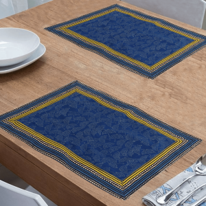 Indha Blue Colour Cotton Hand Block Printed Dining Table Mat (Pack of 6)