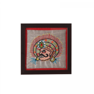 Indha Tribal Hand Embroidered  Square Wood, Glass Coaster