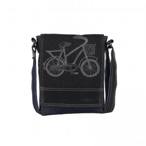 Indha Ethnic Hand Embroidered Black Colour Denim Sling Bag for Girls/Women