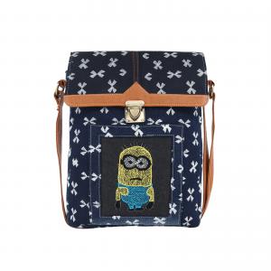 Blue Denim Hand Embroidered Stylish Sling Bag for Girls/Women