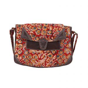 Indha Maroon Colour Kalamkari Printed Cross Body Sling Bag for Girls/Womens