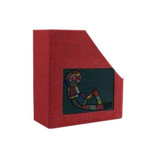Indha Table Top Hand Embroidered Red Colour Jute Alien Motif Books/Magazine Holder