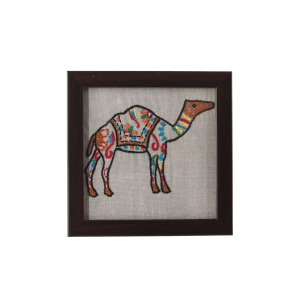 Indha Rajasthani Art Hand Embroidered Glass Coaster