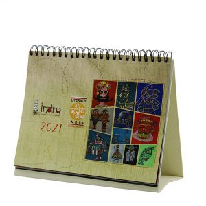 Hand Embroidered & Children`s Craft Images Table Top Calendar for Home & Office Desk