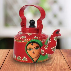Red Colour Mother's Love Handpainted Tea/Coffee Kettle/Decorative Kettle
