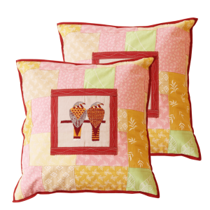 Multicolour Cotton Patchwork Hand Embroidered 16″ Cushion Cover (Set of 2)