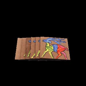 Indha Wooden Indian Deer Handpainted Coaster Set pack of 6