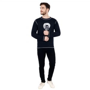 Indha Round Neck Hosiery Printed Full Sleeves T-Shirt for Men (Navy Blue)