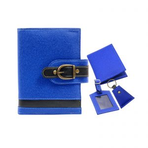 Blue Colour Vegan Leather Handmade Diary, Card Holder, Key Chain & Baggage Tag Set/Corporate Gift Set