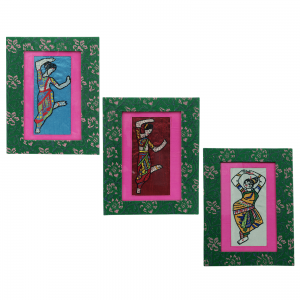 Indian Classical Dance Hand Embroidered Wall Hanging Frame
