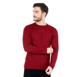 Indha Maroon Colour Full Sleeves Round Neck Cotton (Hosiery) T-Shirt for Men
