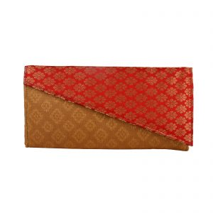 Red & Brown Silk Brocade Clutch for Weddings|Parties for Girls|Women specially handcrafted