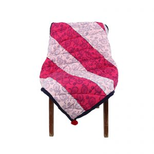 Indha Cotton Patchwork White & Pink Colour Cotton Patchwork Hand Block Printed Sofa Throws as a Home Decor