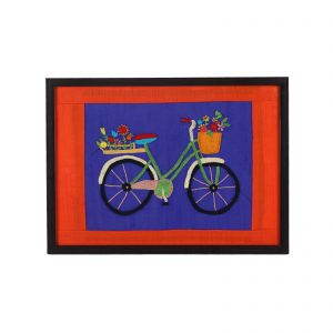 Multicolour Hand Embroidered with wooden frame / A Decorative tray for living room centre table