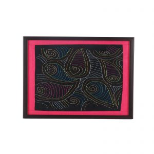 Multicolour Hand Embroidered with wooden frame | A Decorative tray for living room centre table