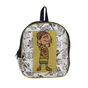 Indha Cotton Hand Hand Block Print with Hand-Embroidered Small Kids Backpack Bag