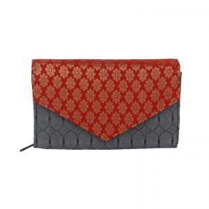 Indha Red & Grey Silk Brocade Clutch for Weddings/ Parties for Girls/Women