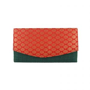 Indha Craft Specially Handcrafted Red & Green Silk Brocade Clutch for Girls|Women
