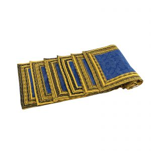 Mix of Blue,Yellow and Black Hand Block Printed Organic Cotton 6 Seater Dining Table Placemats/Table Runner (Set of 6)