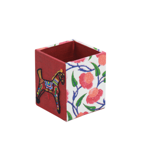 Indha Block Printed & Hand Embroidered Pencil Holder & Pen Stand in Stationary Table Desk Organizer for Home Office Supplies