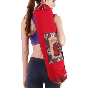 Indha Red Colour Cotton Hand Block Printed with Cartoon Character Hand Embroidered Yoga Mat Cover/Yoga Mat Bag for Men/Women
