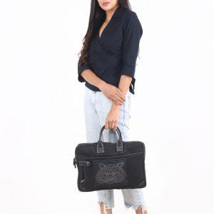 Indha Black Denim Hand Embroidered Tiger Laptop Bag/Laptop Sleeves