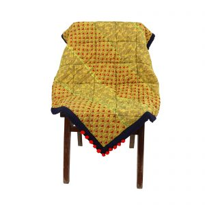 Hand Crafted Yellow Colour Cotton Hand Block Printed Throw for Sofa/Chair at home