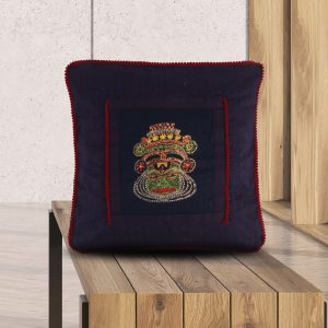 Hand Embroidered Kathakali Embroidery Blue Cushion Cover Set.( Set of 2)