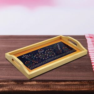 Multicolour Hand Embroidered Wooden Serving Tray/Glass Tray for Dining Table