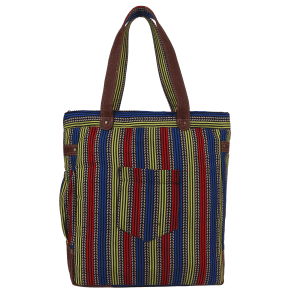 Unique Geometrical  Printed Yellow Green and Blue Fashion Tote Bag in Canvas