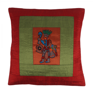 Hand Embroidered of Ancient Indian Motif Cushion Cover Set.( Set of 2)