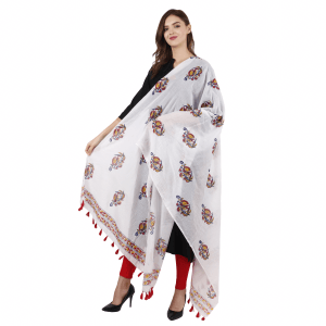 Ethnic Hand Block Printed White Dupatta for Girls & Women