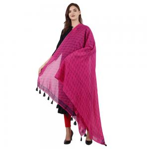 Ethnic Hand Block Printed Pink Dupatta for Girls &; Women