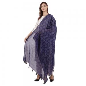 Ethnic Hand Block Printed Blue Dupatta for Girls & Women