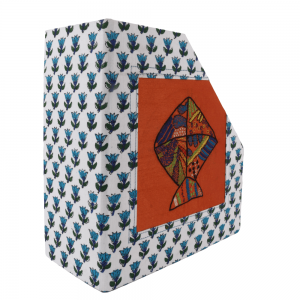 Hand-Crafted and Special Handmade Magazine Holder  with Rajasthani Block Print and with Kite Embroidery on Silk
