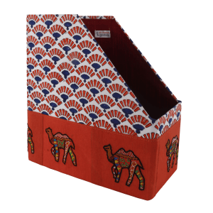 Hand-Crafted and Special Handmade Magazine Holder  with Rajasthani Block Print and Camel Embroidery on Silk