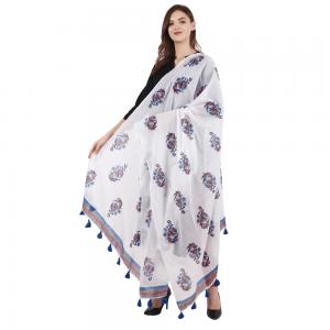 Ethnic Hand Block Printed White Duppata for Girls & Women