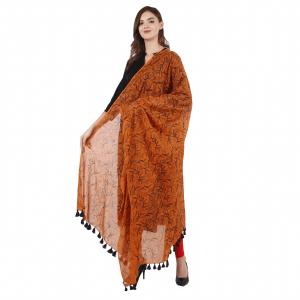 Ethnic Hand Block Printed Orange  Duppata for Girls & Women