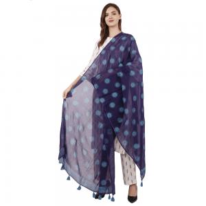 Ethnic Hand Block Printed Blue Duppata for Girls & Women