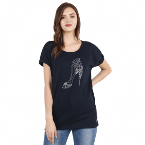 Women Blue Solid Round Neck T-shirt with Stiletto Print Large