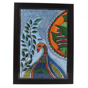 Hand Painted Rural Multi Color Madhubani Art Work on Paper with Wooden Frame -Wall Decor