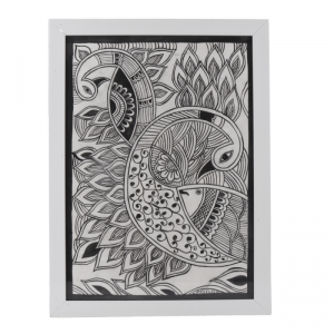 Hand Painted Rural Black Ink Madhubani Art Work on Paper -White Wooden Frame- Wall Decor