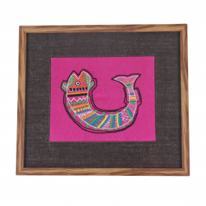 Artificial Wood & Jute Embroidered Wall Frame in Pink (Fish)