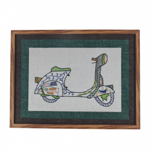 Artificial Wood & Jute Embroidered Wall Frame in Brown (Scooter)