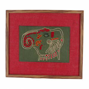 Artificial wood & Jute Embroidered Wall Frame in Red (Elephant)