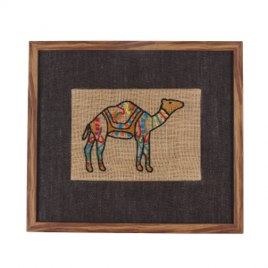 Artificial Wood Embroidered Wall Frame in Brown (Camel)