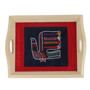 Handmade Cock embroidery Pinewood Serving Tray/Glass Tray for Dining Table
