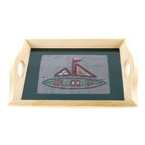 Silver Colour Hand Embroidered Pine Wood Serving Tray/Glass Tray for Dining Table